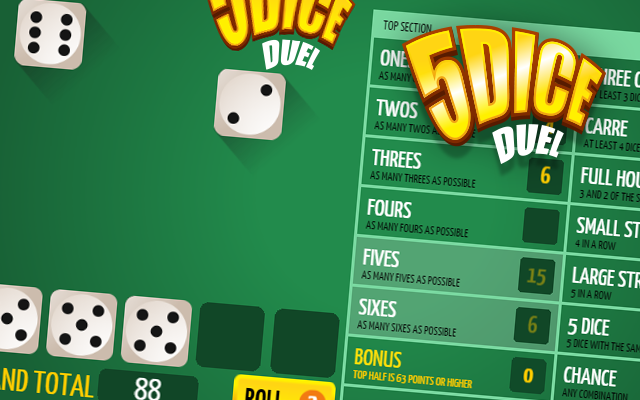 5Dice Duel - A free to play classic Yahtzee dice game