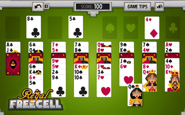 Regal Freecell - Stack the cards in this free Freecell Solitaire game