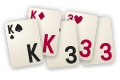 Create poker hands by laying down cards on the 25 places on the field