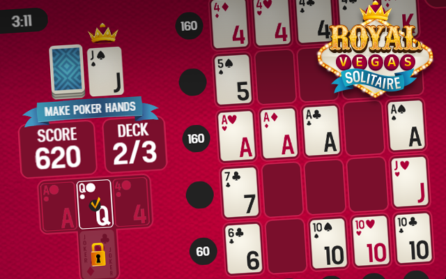 Royal Vegas Solitaire - A free to play Poker Solitaire crossover card game