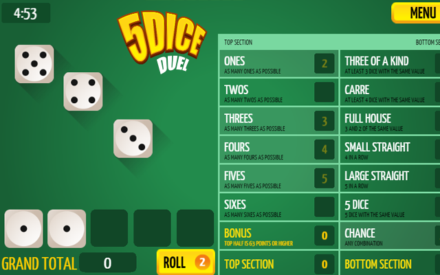 5Dice Duel - A free online Yahtzee dice game