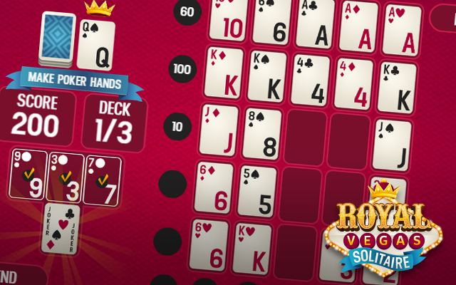 Royal Vegas Solitaire - A free online Poker Solitaire crossover card game