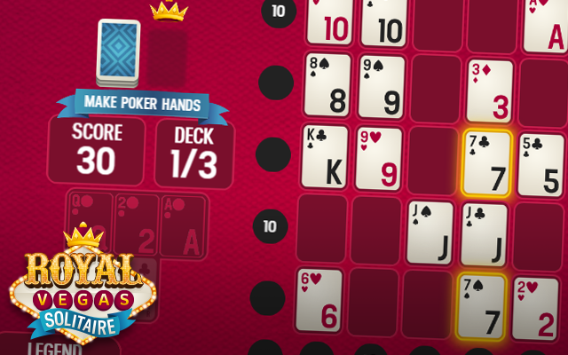 Royal Vegas Solitaire - Make poker hands and become the best in this Poker Solitaire crossover card game